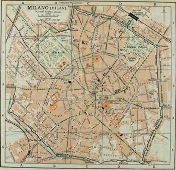 Vintage Map of Milan Italy (1911) by Alleycatshirts @Zazzle