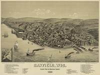 Vintage Pictorial Map of Bayfield WI (1886)