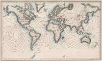 Vintage Map of The Worlds Magnetic Fields (1852)