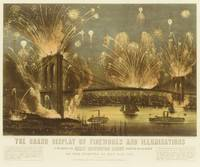 4th of July Fireworks on The Brooklyn Bridge Illus