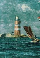 Vintage Painting of a Coastal Lighthouse (1895)