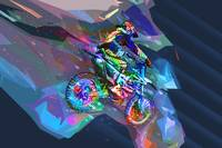 Super Crayon Colored Dirt Bike Downhill with cut