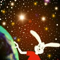 Bunny in the universe Art Prints & Posters by Daca Fikic