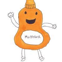 Cute Kawaii Smiling Mustard Bottle Art Prints & Posters by Valerie Waters