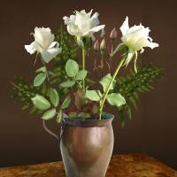 White Roses in Copper Vase by I.M. Spadecaller