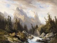 Francois Diday, Mountainous Landscape with the Ros