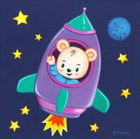 Kids room art with Space Bear in a rocket