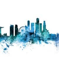 Singapore Skyline Art Prints & Posters by Michael Tompsett