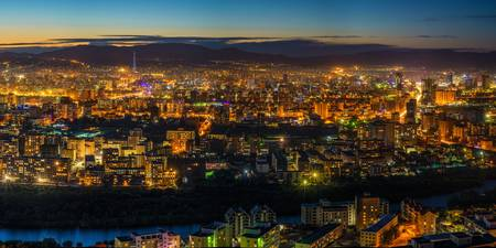 Aerial View of Ulaanbaatar, Mongolia at Dusk