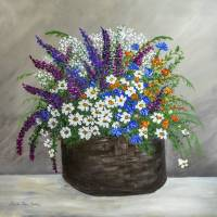 Wildflower Basket Acrylic Painting A61318 Art Prints & Posters by Martha Ann Sanchez