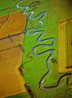 Aerial Farm meandering Stream