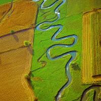 Aerial Farm meandering Stream Art Prints & Posters by Tom Jelen
