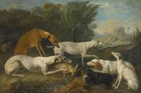 Jacques-Charles Oudry DOGS IN A LANDSCAPE WITH THE