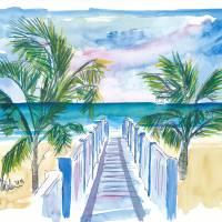 """Caribbean Beach Walk Through Palms Into the Blue"" by arthop77"