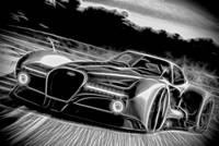 Bugatti Atlantique Concept Car - Black & White