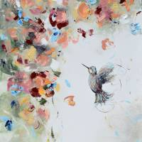 """""Infinite Joy"" Floral Hummingbird Painting"" by ChristineKrainock"