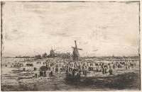Dutch winter landscape with windmills and skaters,