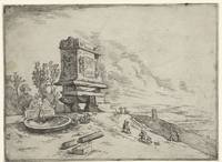 Landscape with a sarcophagus and a fountain, Jan v