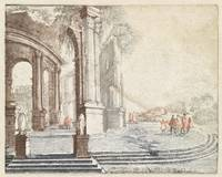 Landscape with a round Roman ruin, anonymous, 1688