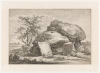 Landscape with draftsman, anonymous, 1700 - 1799