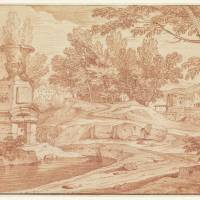 """Landscape with monumental vase and some buildings,"" by motionage"