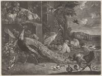 Landscape with poultry, anonymous, after Melchior