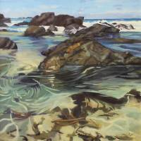 """Sawtell Beach Surf and Rockpools"" by carolinegoldsmithart"