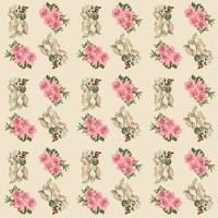 retro dog floral pattern ecru