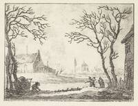 Winter landscape with houses and figures, Pieter B