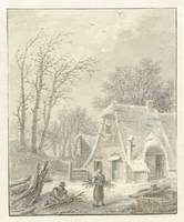 Winter landscape with wood gatherers for farm, Pie
