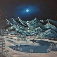 Moonlit Mountains - Winter Day