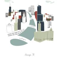 """Chicago Modern Cityscape Illustration"" by AlbieDesigns"