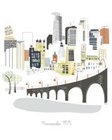 Minneapolis Modern Cityscape Illustration