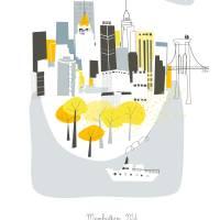 """Manhattan Modern Cityscape Illustration"" by AlbieDesigns"