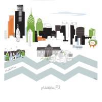 """Philadelphia Modern Cityscape Illustration"" by AlbieDesigns"