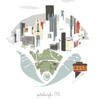 """Pittsburgh Modern Cityscape Illustration"" by AlbieDesigns"