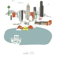 """Seattle Modern Cityscape Illustration"" by AlbieDesigns"