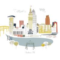 Cleveland Modern Cityscape Illustration Art Prints & Posters by Kimberly Sly
