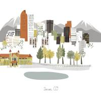 """""""Denver Modern Cityscape Illustration"""" by AlbieDesigns"""