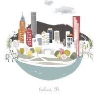 """Portland Waterfront Modern Cityscape Illustration"" by AlbieDesigns"