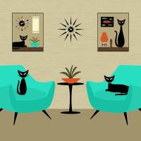 Mini Cats on Tabletops Art Prints & Posters by Donna Mibus
