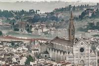 Aerial View Historic Center of Florence, Italy