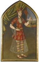 A portrait of a lady, Persia, Safavid or Afsharid,