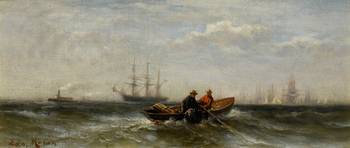 EDWARD MORAN (1829-1901) Two Men in a Boat - oil o