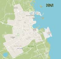 Minimalist Modern Map of Doha, Qatar A