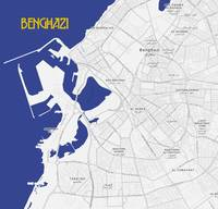 Minimalist Modern Map of Downtown Benghazi, Libya