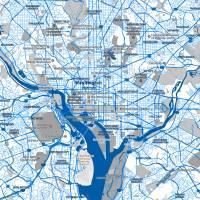 """""""Minimalist Modern Map of Washington DC, USA 2"""" by motionage"""