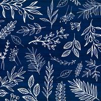 In The Wind - White Leaf Sketch Pattern
