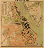 Map of Phnom Penh, Cambodia (circa 1920)