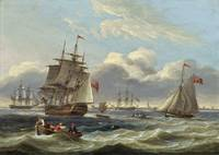Thomas Luny - Warships and a cutter in a heavy swe